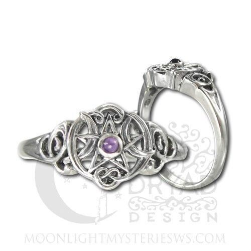 heart pentacle moon ring in sterling silver with amethyst gem dryad design ring - Wiccan Wedding Rings