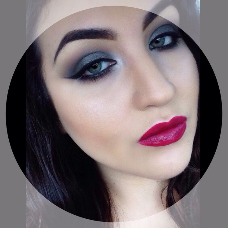 Dark makeup deep red lipstick dark smokey eyes