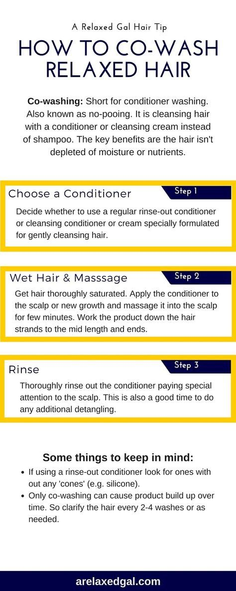 Co-washing can be beneficial for relaxed hair. It's also simple to do. This infographic outlines the three easy steps for co-washing. | arelaxedgal.com