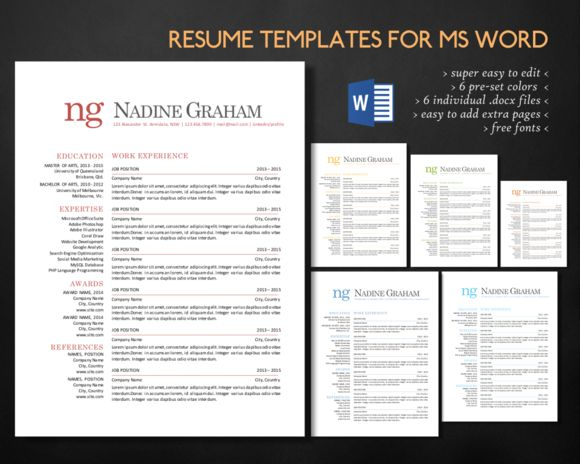 237 best Microsoft Word Resume Templates images on Pinterest - visual resume templates