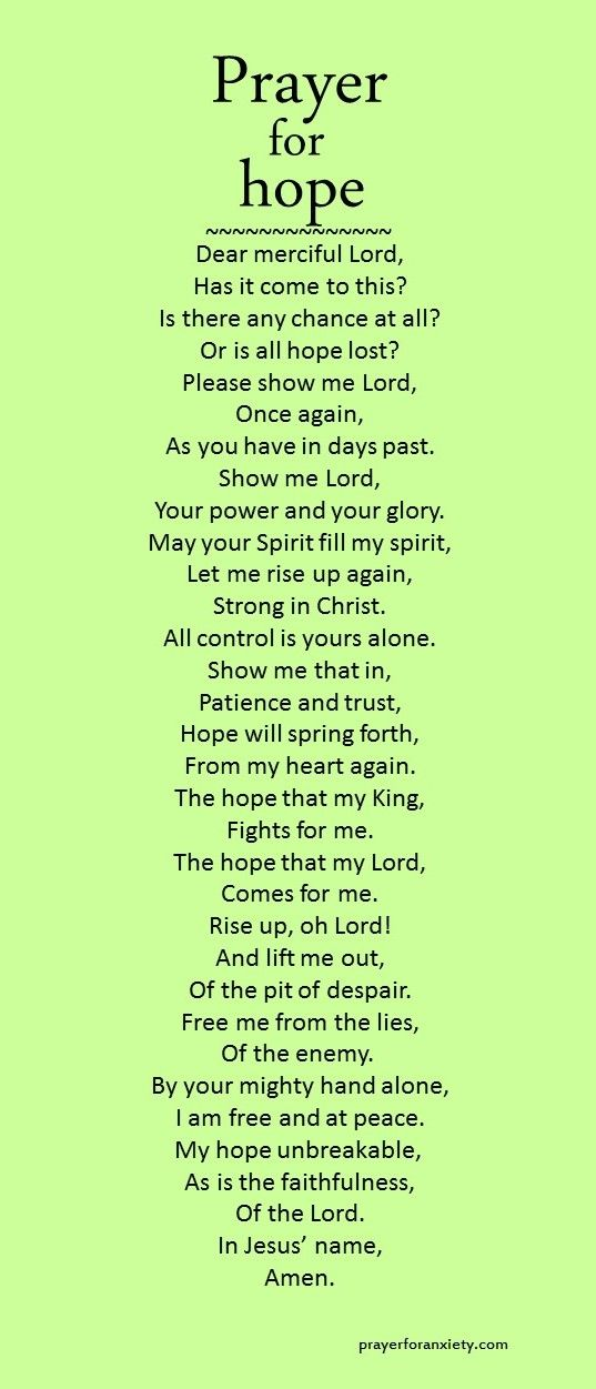 May this prayer for hope inspire you to trust in God's providence for your life. Things may not turn out exactly as you like, but our hope in Jesus allows us to face any trial. Don't give up hope. Remember, God always has the last word.