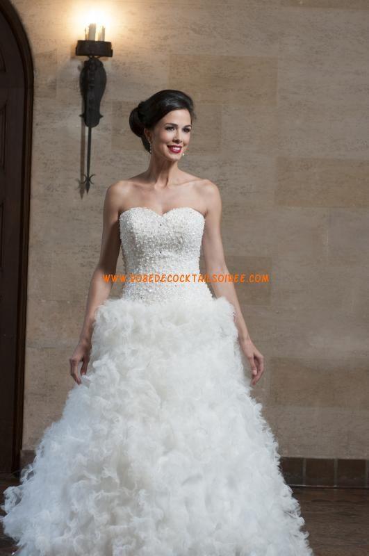 Belle robe de mariée blanche bustier 2013 glamour perles tulle