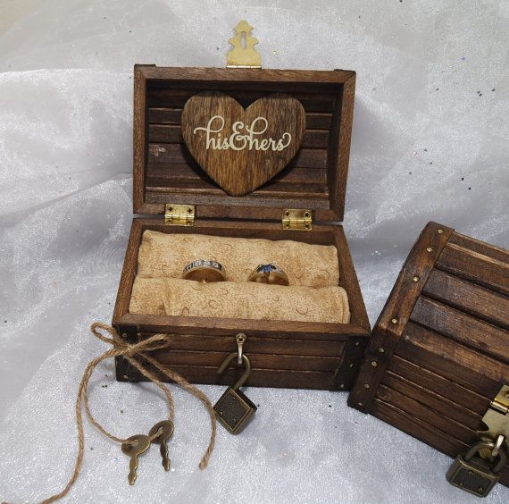 Rustic Wedding Ring Box Ring Box w/ Lock & by CraftyWitchesDecor