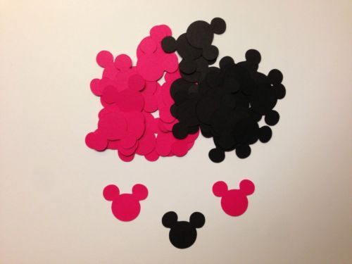 100 Pink & Black Minnie/Mickey Head Die Cut Scrapbooking Craft Table Confetti