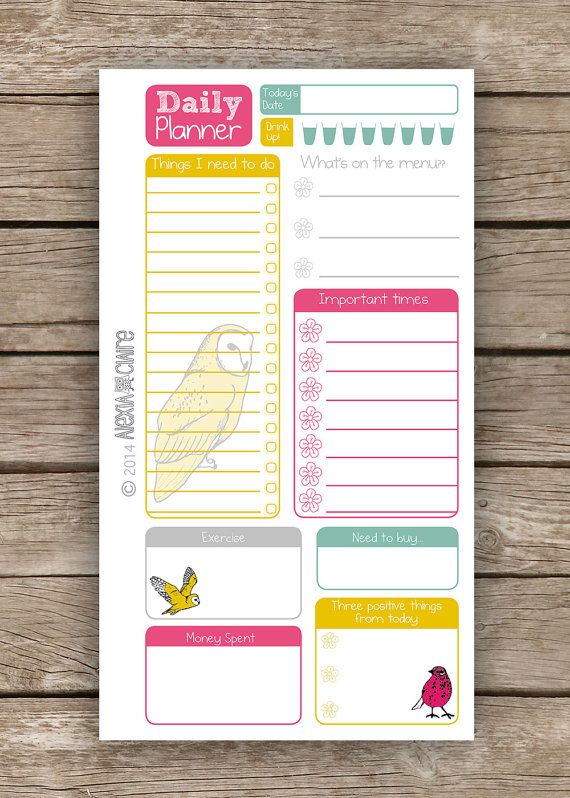 Daily Planner - Personal Filofax size - Cute hand drawn animal illustrated - Instant Download pdf