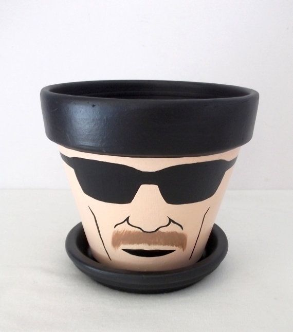 Breaking Bad Heisenberg Painted Flower Pot Gift Set with Tray Walter White on Etsy, $18.00