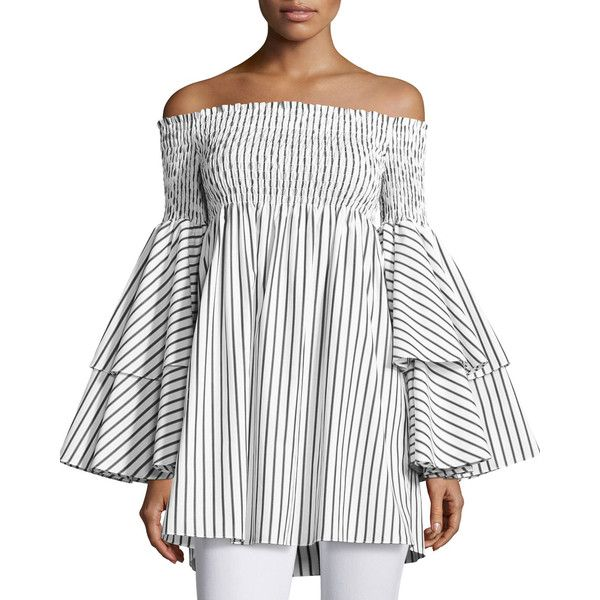 Caroline Constas Apollonia Off-the-Shoulder Striped Top ($495) ❤ liked on Polyvore featuring tops, white off the shoulder top, smock top, long off the shoulder tops, flared sleeve top and white striped top