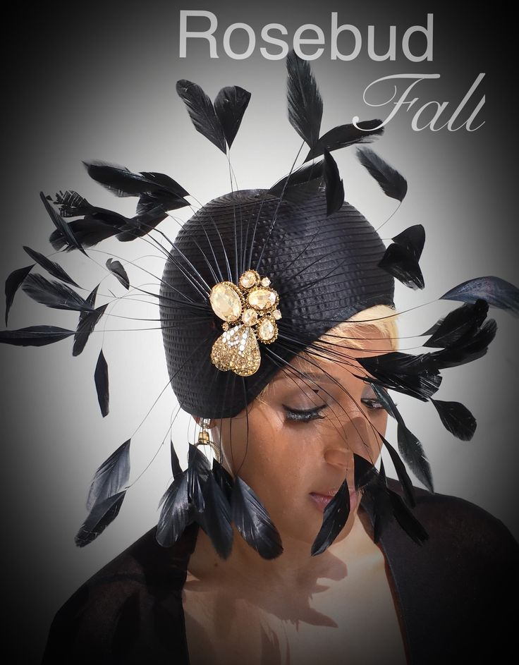 blk closhe with a Rose rhinestone broach. Perfect Fall by Rosebud. All hats take 7-10 days to complete