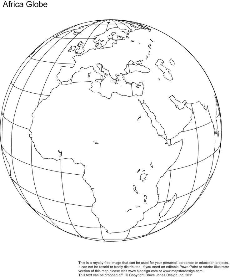 Africa, Middle East Globe map, printable, blank, outlne, royalty free. jpg
