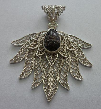 Agate stone, filigree pendant