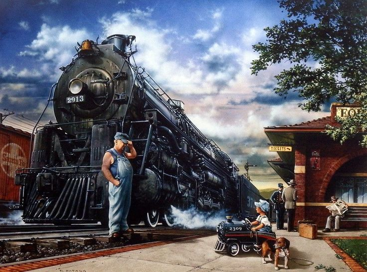 A steam engine railroad engineer shares stories with a little boy in a pedal railroad car at the train station in a nostalgic train print by Dan Hatala. This print comes in two unframed image sizes.