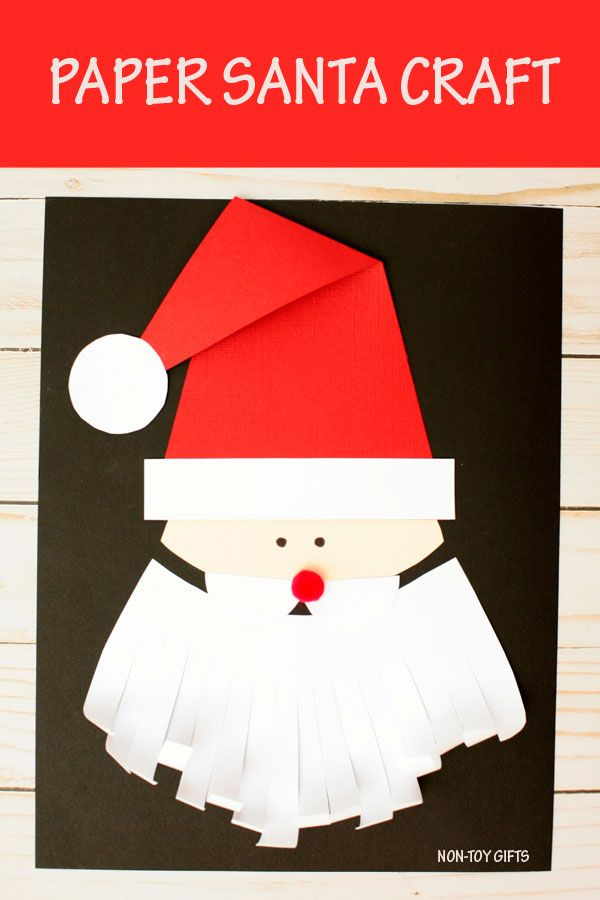 20b46f2c38a89 Easy Santa craft for kids. Paper Christmas craft with template for  preschoolers and kindergartners.  Santa  Christmas
