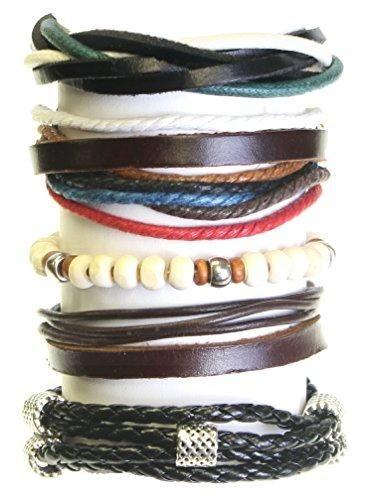 comprar ofertas de Juego de 5 cuentas de madera / cordón y cuero Surf Surfer estilo pulseras pulseras – 259 barato