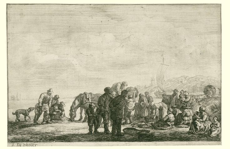 Simon de Vlieger | Vissers op het strand, Simon de Vlieger, 1610 - 1653 | Groep van mannen, vrouwen en kinderen op het strand met vismanden en twee karren getrokken door paarden. Achter de duinen een dorp.