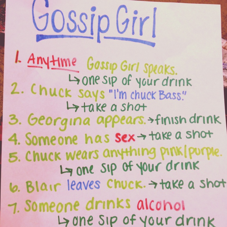 Gossip Girl drinking game! OH DEAR GOD! who wants to want the whole Gossip Girl Series with me for the 4th time?!?