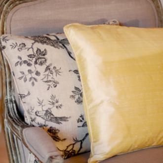 A perfect pair - Buttermilk Silk Dupion and Black Isabelle Linen cushions.These handmade cushions are hand sewn in Suffolk. www.jim-lawrence.co.uk