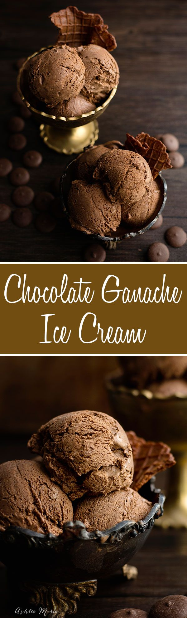 dark chocolate ganache ice cream is the most decadent, rich bite of chocolate ice cream you will ever enjoy
