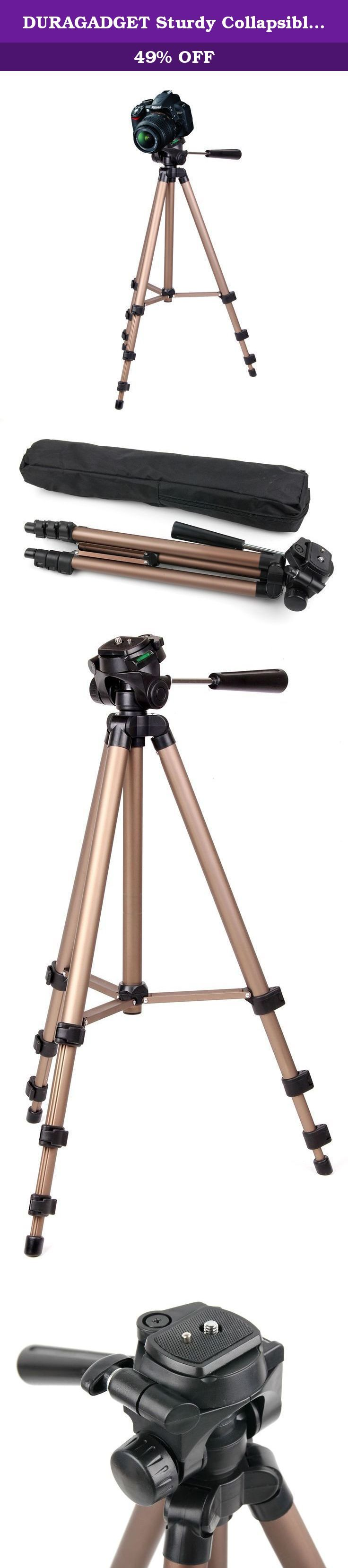 DURAGADGET Sturdy Collapsible Tripod with Extendable Legs for Nikon - D90, D800, D300s. Introducing DURAGADGET's bestselling tripod for cameras and camcorders, custom-designed to make for the perfect travel companion. Lightweight, contoured and ultra-portable, this functional tripod is as feature-packed and secure as it is stylish, and the high-quality aluminium build continues to promote this. Designed with built-in shock-absorbing, impact-resistant properties for safety and security…