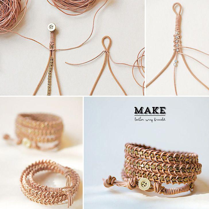 How to Make Leather Wrap Bracelet - DIY  Crafts - Handimania