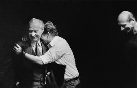Jaroslav Kučera - Václav Havel embraces Alexander Dubček at a meeting in the Laterna Magika theatre in Prague, at 24 November 1989, witnessed by journalist Jiří Černý. That same night the whole leadership of the Czechoslovak Communist Party resigns.