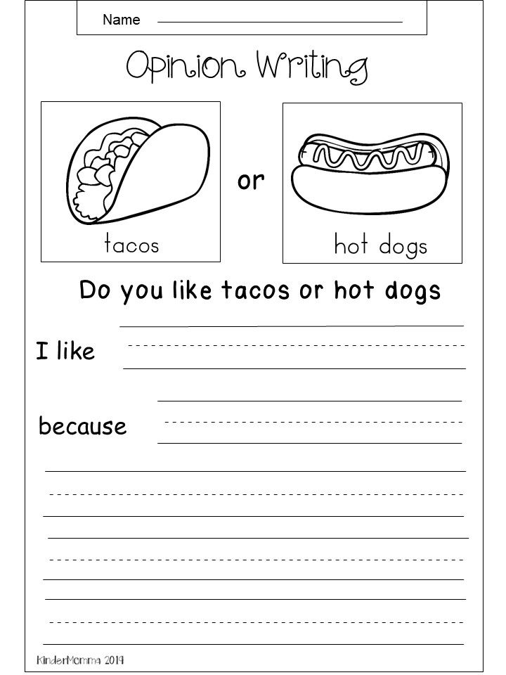 Free Opinion Writing Printable Tacos Vs Hot Dogs Kindergarten