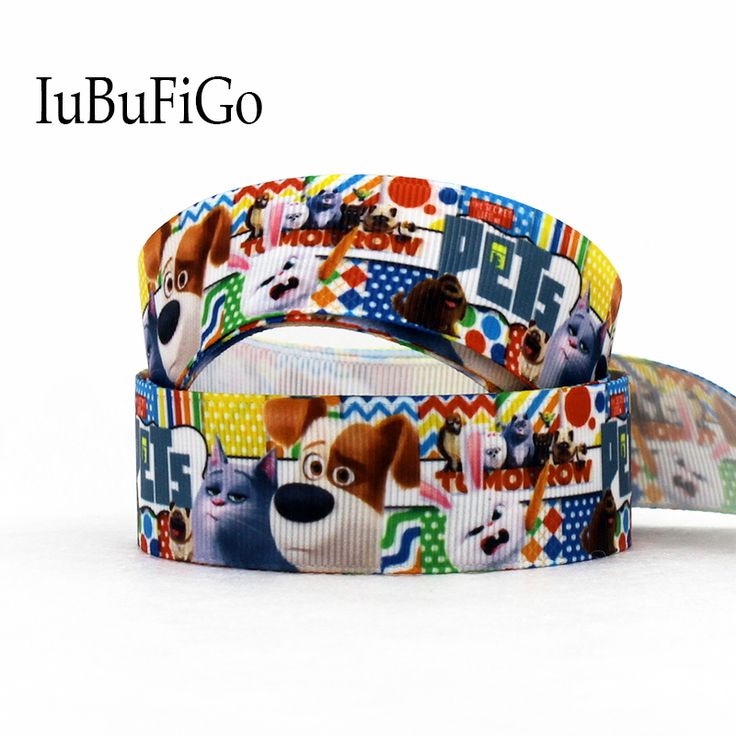 "[IuBuFiGo] 10 yards New style ribbon 1""25mm Dog ribbon Printed Grosgrain Pets Cartoon Polyester wholesale ribbons DIY tape #Affiliate"