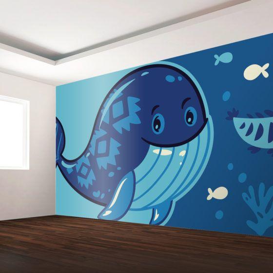 Custom Printed Wall Mural   Kids Room Ocean Scene, Blue Whale And Fish