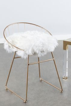 Cute Chair With Faux Fur Cushion And Copper Frame White Vanity