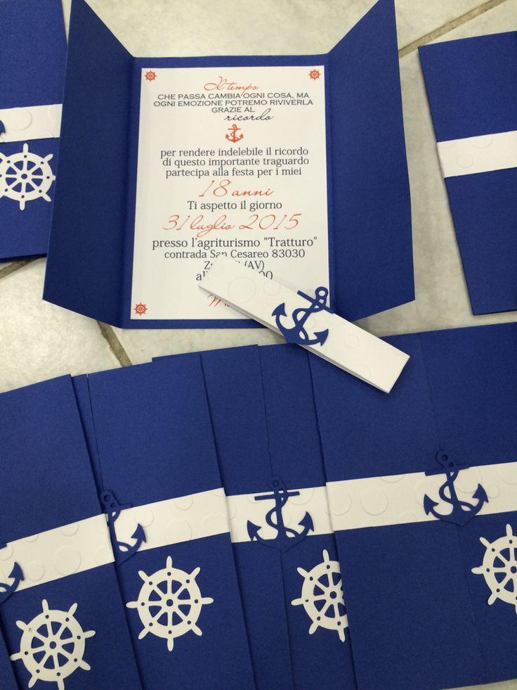 Inviti compleanno realizzati a mano Tema nautico  Party blue nautic theme