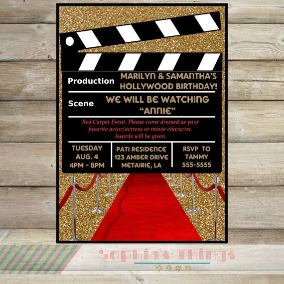 clapper board movie party invitation hollywood movie birthday party invitation red carpet event party - Movie Birthday Party Invitations
