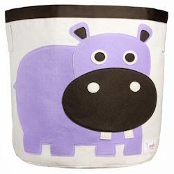 3 Sprouts Storage Bin Purple Hippo