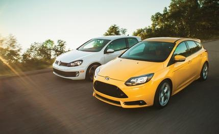 The #Ford #Focus #ST takes on the original hot hatch #Volkswagen #GTI
