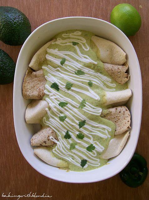 Baking with Blondie : Chicken Avocado Enchiladas use with chicken burrito bowl