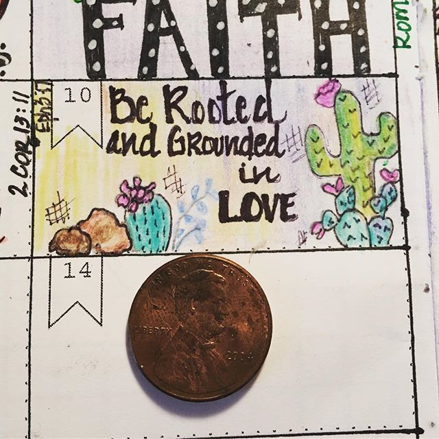 "Many of you have asked ""what is tiny scripture doodling?"" Well her it is as compared to the size of a penny. 2 inches by almost 1 inch. Tiny art but HUGE meaning!! Be rooted in love as you go out today!! #tinyscripturedoodle #biblejournaling #biblejournalingdaily #biblejournalingcommunity #biblejournalinglife"