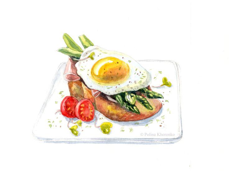Polina Khoronko: Акварельные иллюстрации еды.