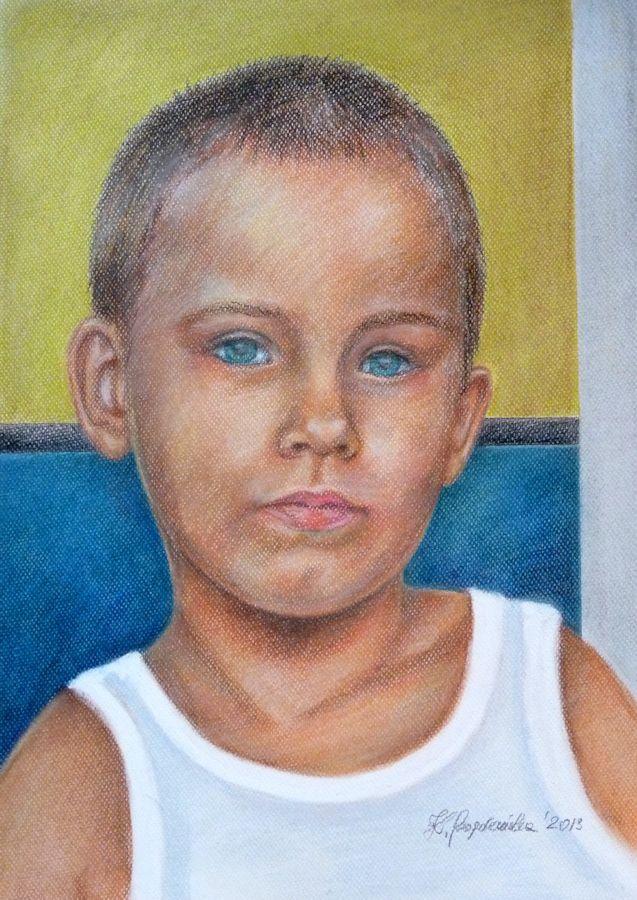 Portret mojego syna Kacperka 2013 rok format A3 technika - pastele  Kacperek | zoom | digart.pl