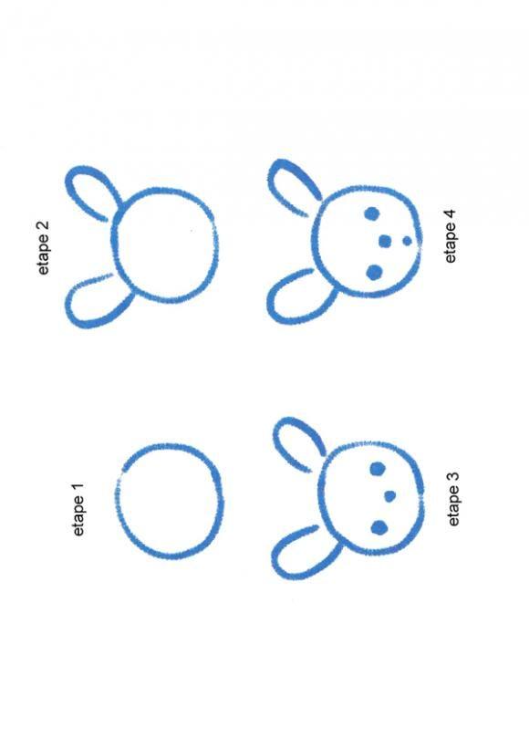 UNE TETE DE PETIT LAPIN - Dessin - Dessiner - Apprendre à dessiner pas à pas - Divers