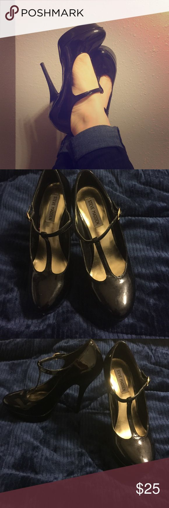 Steve Madden stilettos size 7.5 FABulous heels. Black patent Steve Maddens 👠 These look amazing and sexy on, just a bit too small for me ☹️ Steve Madden Shoes Heels