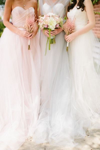 Pastel gowns: http://www.stylemepretty.com/illinois-weddings/chicago/2014/10/22/monets-water-lily-bridal-inspiration/ | Photography: Katie Kett - http://www.katiekettphotography.com/