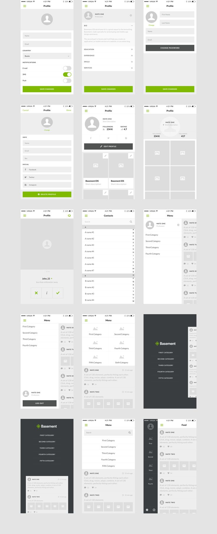 Social is the second part of Basement iOS. An expertly crafted Wireframe Kit for quick effortless prototyping, and mobile app design assistance. It includes 60 ready-to-use screens for iPhone 6 resolution, focused on social activity and multimedia interactions.