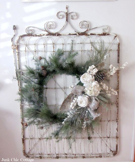 Junk Chic Cottage: Creating A White Christmas | vintage wire garden gate for wall hung with simple wreath
