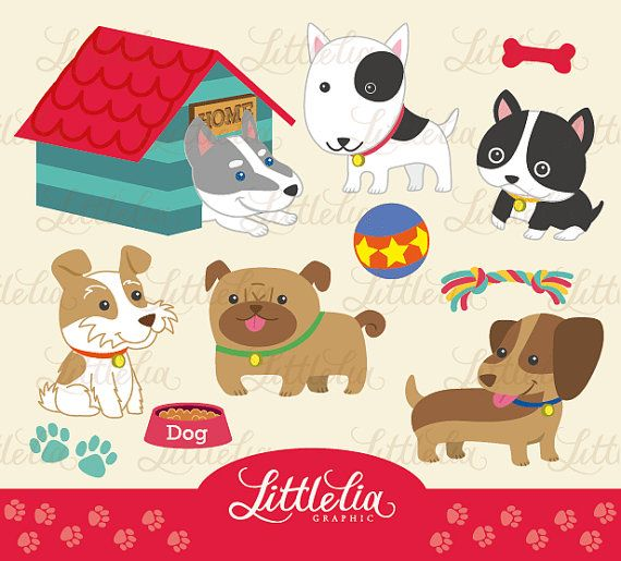 Doggy cute clipart set - 13004