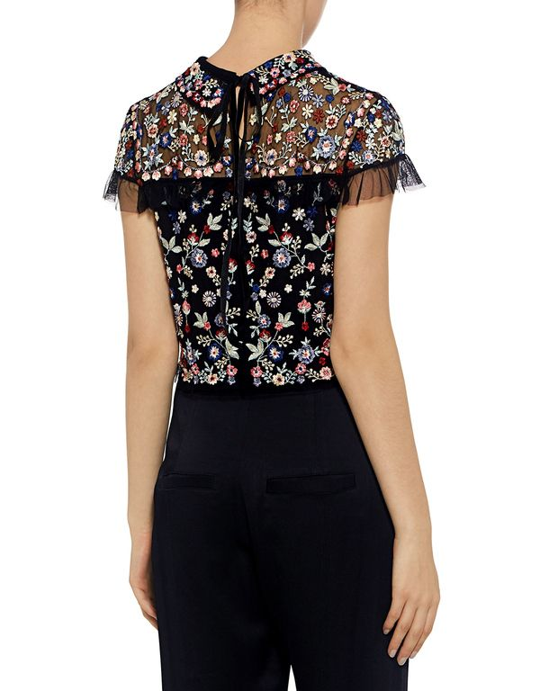 Needle & Thread: Posy Floral Embroidered Ruffle Cropped Top (item view - 4)