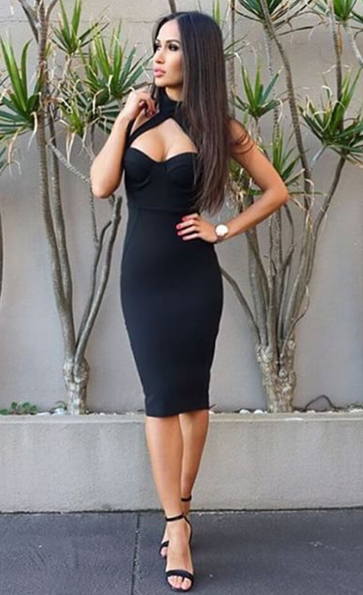 $99.99 High Neck Hollow-out Bandage Dress