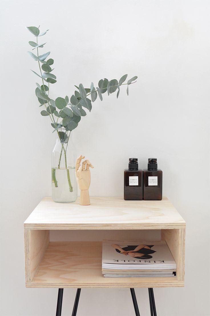 DIY mid century bedside table