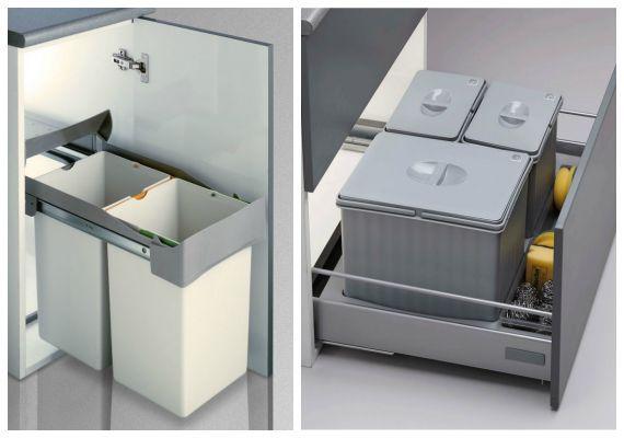 Cubos de basura de reciclaje para armarios o cajones de cocina.