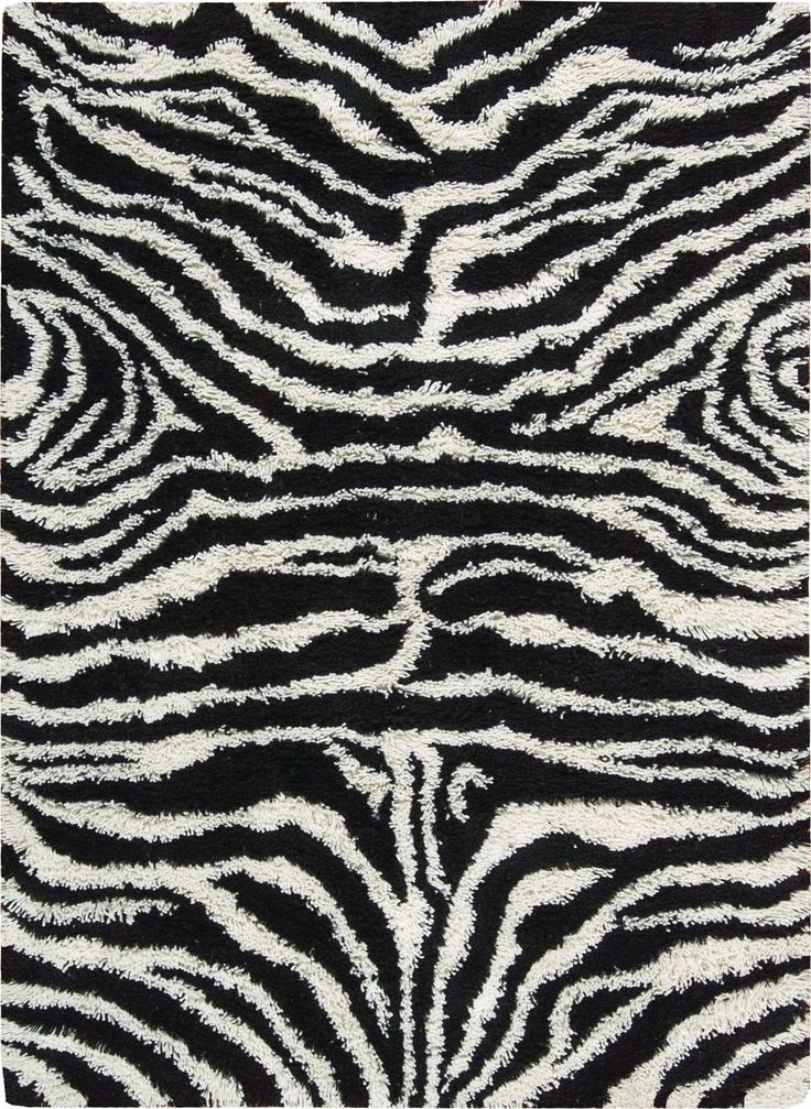 Splendor Black White Shag Area Rug 5' x 7'