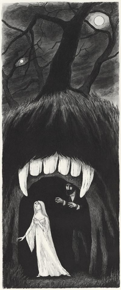 """Edward Gorey : Illustrations for John Bellairs's """"The House With A Clock In Its Walls"""" series."""