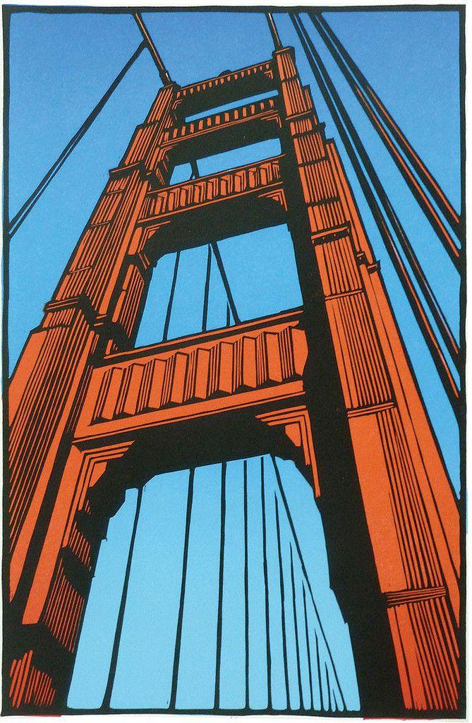 The Bridge at 75 / San Francisco - linocut - Rik Olson, U.S.A.