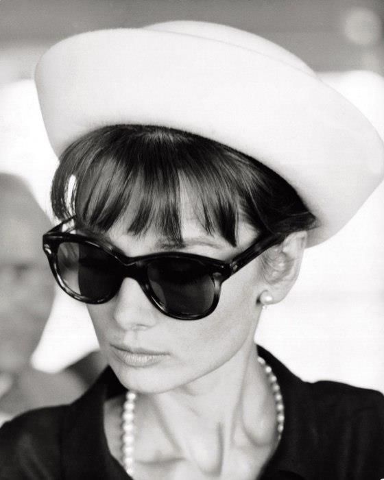 Hat, Pearls, Bangs Sunglasses. Perfect.